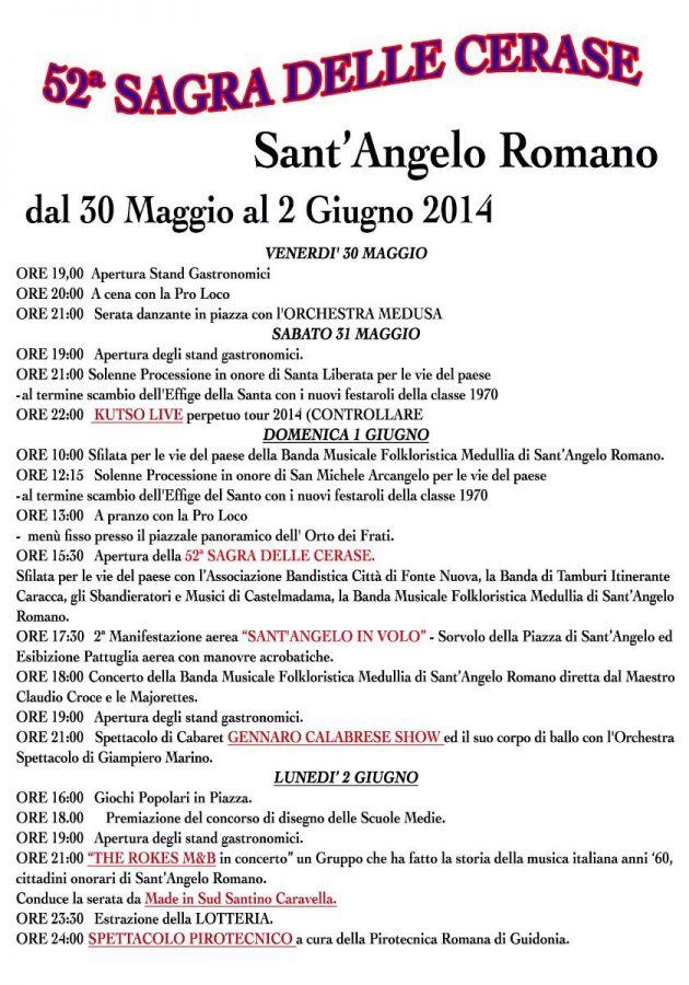 La locandina della Sagra delle Cerase 2014 di Sant'Angelo Romano