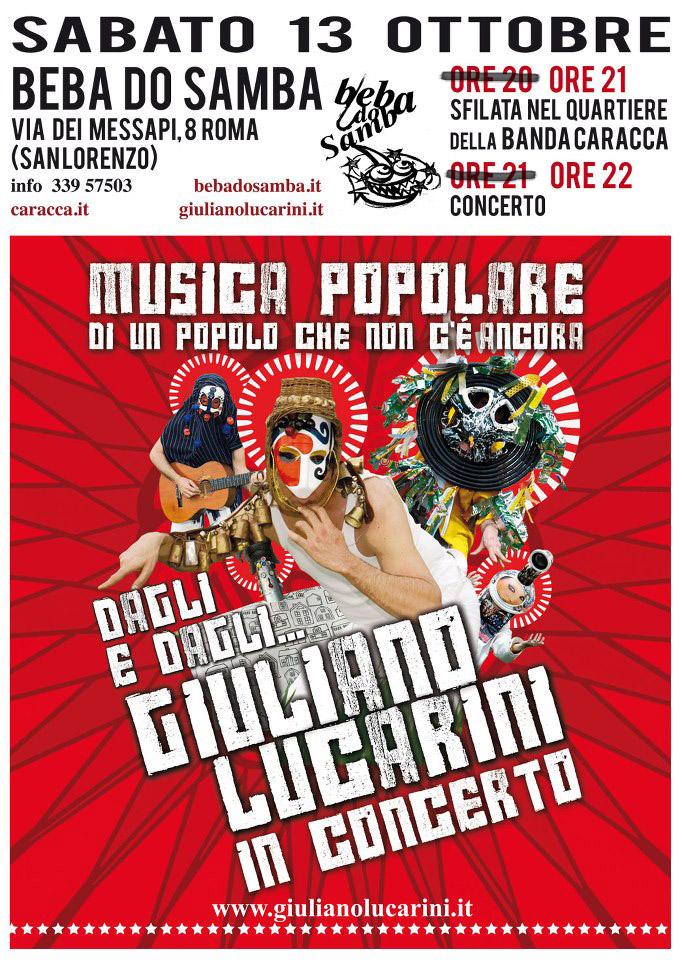 La locandina della Caracca al Beba do Samba con Giuliano Lucarini